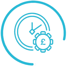 cost time efficient icon blue