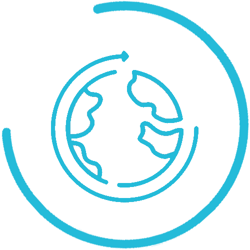 global network icon blue